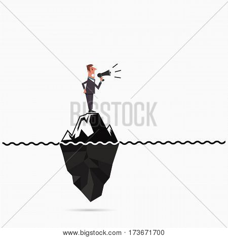 Businessman announce the risk analysis iceberg template.Man holding megaphone with iceberg infographic template.Businessman on megaphone make an announcement.Vector flat design illustration