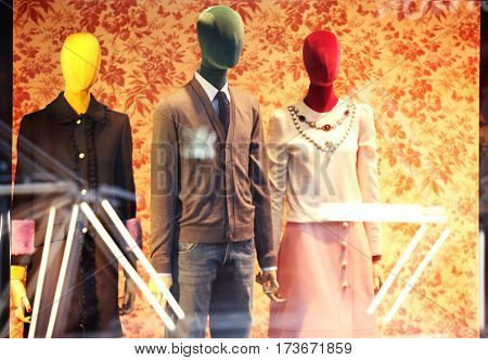 Fashion store showcase with mannequins