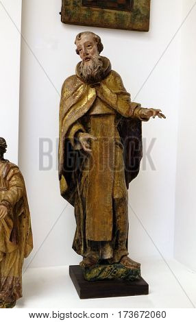 ZAGREB, CROATIA - JUNE 18: Saint Anthony the Great, the first half of the 18th century from the former church of the Virgin Mary, exhibited in Museum of Arts and Crafts in Zagreb, on June 18, 2015.
