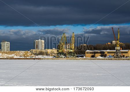 River port in Moscow winter sunny day