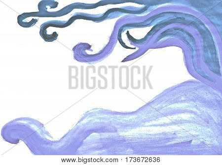Soft cold blue curvy hand watercolor drawn abstract image