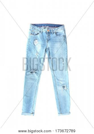 Jeans on white background