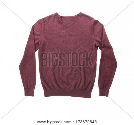 Warm sweater on white background