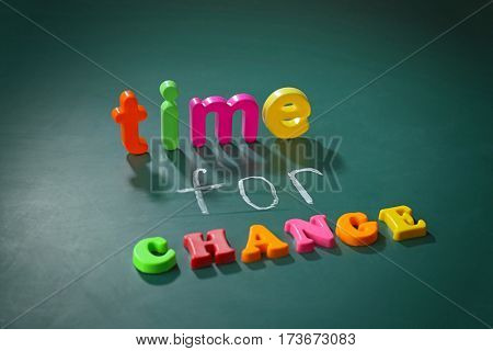 Motivation concept. Phrase TIME FOR CHANGE on chalkboard background