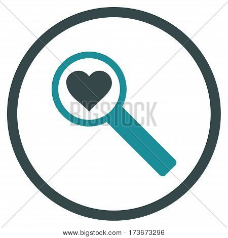 Find Love rounded icon. Vector illustration style is flat iconic bicolor symbol inside circle soft blue colors white background.