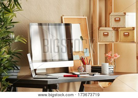 Modern design of workplace with big computer monitor
