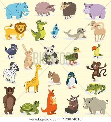 set of different animals. birds mammals reptiles. vector drawing