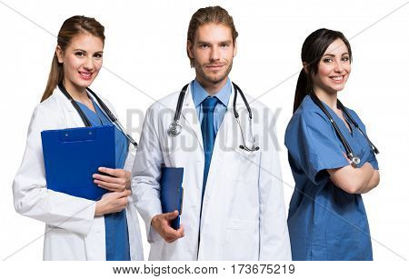 Portrait of three medical workers