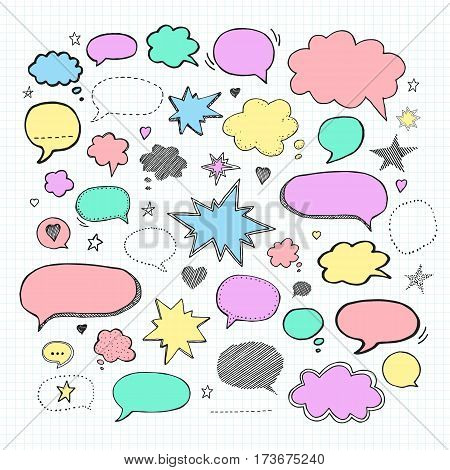 Handwriting set of speech bubbles. Vector illustration. Hand drawn Set picture blank template comic text speech chat bubble