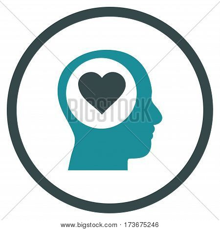 Love Thinking Head rounded icon. Vector illustration style is flat iconic bicolor symbol inside circle soft blue colors white background.