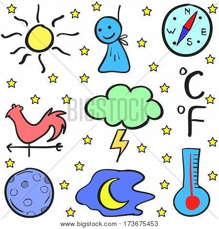 Illustration vector of weather doodles collection stock