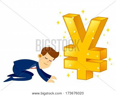 Vector stock of a businessman bow down and worship a big shiny golden Japanese Yen currency symbol