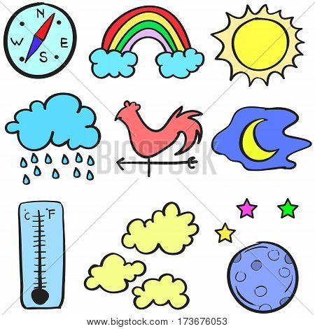 Doodle of weather theme design vector collection stock