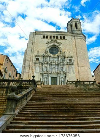 Girona Cathedral in Catalonia, Spain, Romanesque, Gothic and Baroque architecture, city landmark
