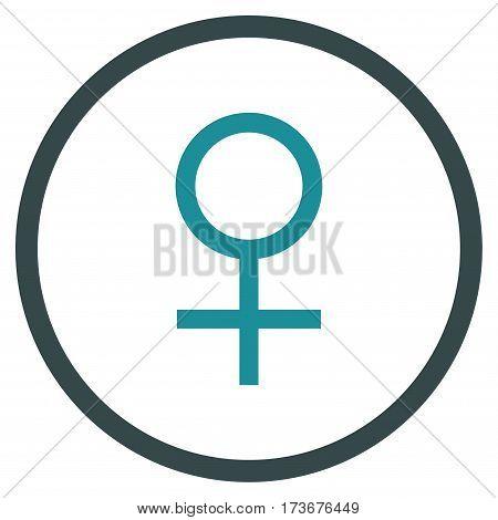 Venus Female Symbol rounded icon. Vector illustration style is flat iconic bicolor symbol inside circle soft blue colors white background.