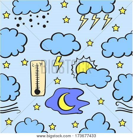 Doodle of weather style various collection stock