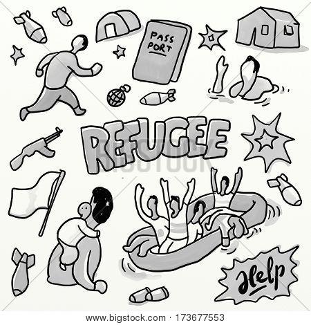Refugee set. Watercolor drawing sketch illustration