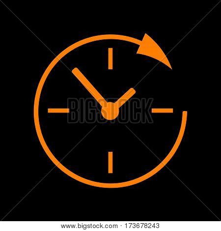 Service and support for customers around the clock and 24 hours. Orange icon on black background. Old phosphor monitor. CRT.