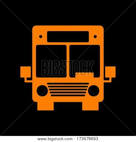 Bus sign illustration. Orange icon on black background. Old phosphor monitor. CRT.