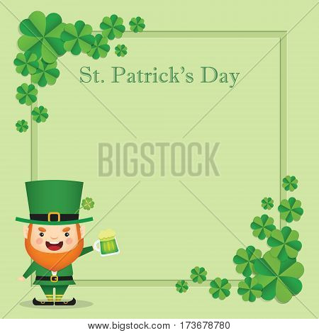 Happy St. Patrick's Day greeting card template. Cute Leprechaun celebrating Saint Patrick's Day with mug of green beer on green clover background. 17 march vector illustration.