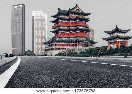 Pavilion Of Prince Teng Against Sky with empty road in Nanchang,China.