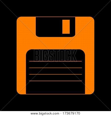 Floppy disk sign. Orange icon on black background. Old phosphor monitor. CRT.