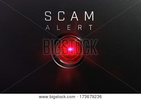 Status indicator or lamp. Red glowing warning lamp or button black panel with the words,
