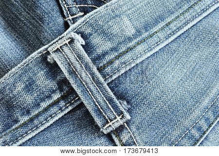Close Up Detail Of Belt Loops On Denim Jeans Texture