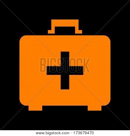Medical First aid box sign. Orange icon on black background. Old phosphor monitor. CRT.
