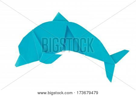Blue sea dolphin of origami. Isolated on white background