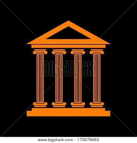 Historical building illustration. Orange icon on black background. Old phosphor monitor. CRT.