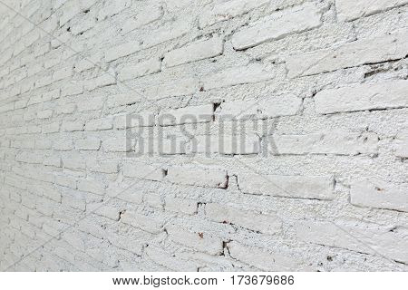 Old White Color Painted On Brick Wall Texture Interior