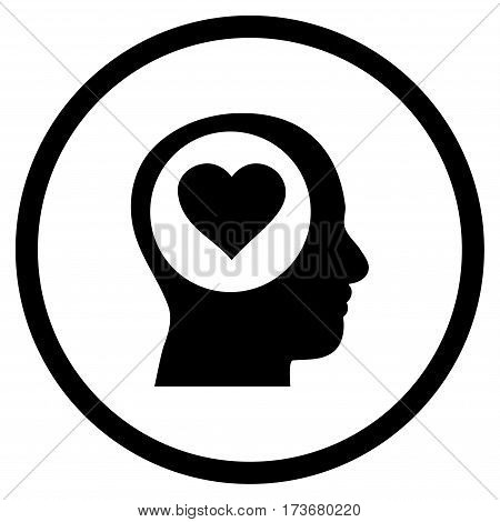 Love Thinking Head rounded icon. Vector illustration style is flat iconic symbol inside circle black color white background.