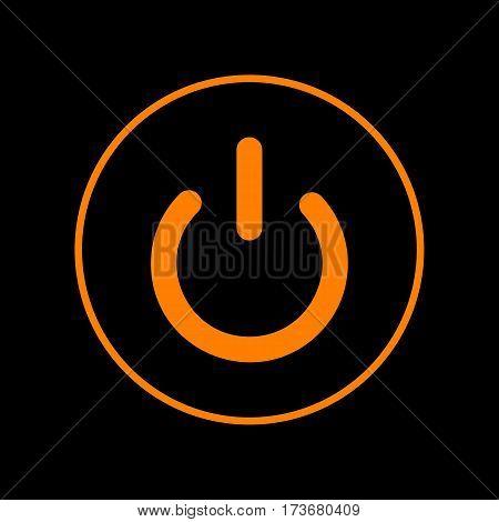 On Off switch sign. Orange icon on black background. Old phosphor monitor. CRT.