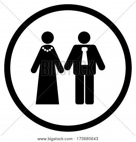 Newlyweds rounded icon. Vector illustration style is flat iconic symbol inside circle black color white background.