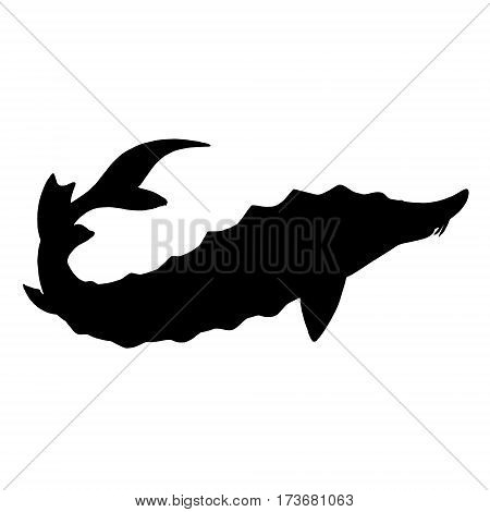 Sturgeon silhouette. Hand drawn image. Black white icon. Vector illustration. Logo desing with fish.
