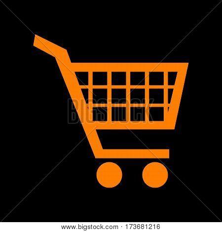 Shopping cart sign. Orange icon on black background. Old phosphor monitor. CRT.
