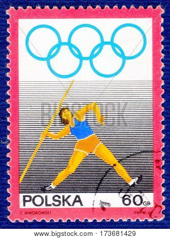POLAND - CIRCA 1969: Postage stamp printed in Poland with a picture of a javelin-throwing,  from the series