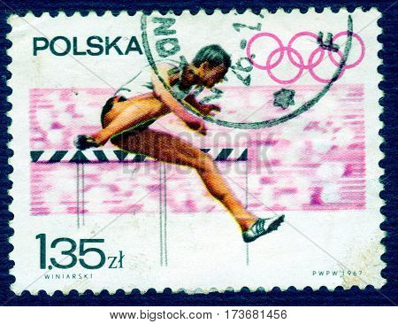 POLAND - CIRCA 1967: Postage stamp printed in Poland with a picture of a athlete runner, from the series