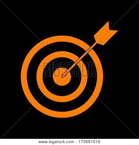 Target with dart. Orange icon on black background. Old phosphor monitor. CRT.