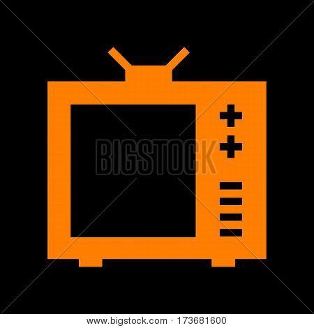 TV sign illustration. Orange icon on black background. Old phosphor monitor. CRT.