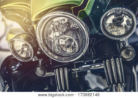 Close-up On Chrome Headlights Of Luxury Motorcycle
