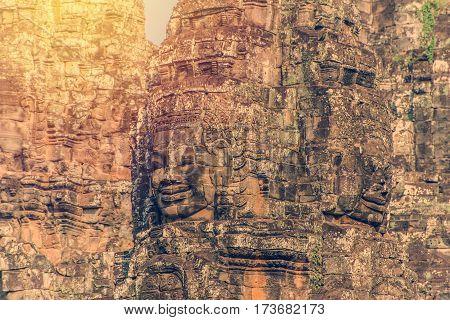 Bayon Castle Or Prasat Bayon Khmer Temple At Angkor In Siem Reap Cambodia
