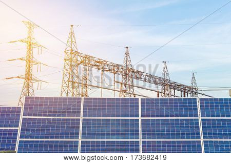 Solar Panels Using Renewable Solar Energy In Power Station For Making Electricity