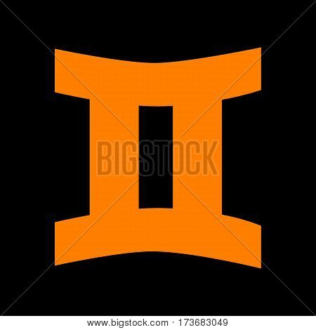 Gemini sign. Orange icon on black background. Old phosphor monitor. CRT.