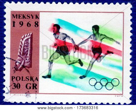 POLAND - CIRCA 1968: Postage stamp printed in Poland with a picture of a athlete runner, with the inscription