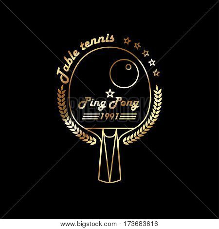 Gold Logo League Table Tennis. The modern style of thin lines. Badge Ping pong racket with a wreath of leaves and the inscription.