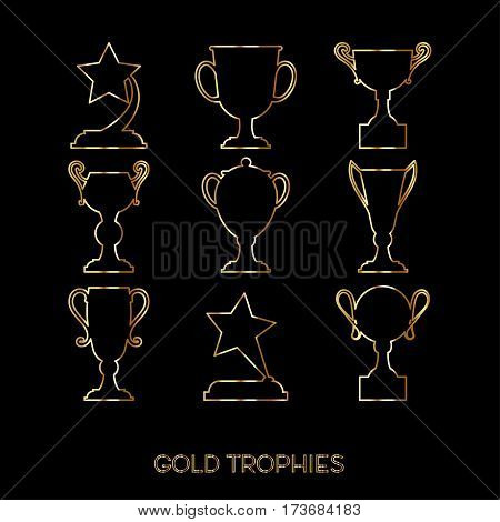 Winner award cup. Vector cup flat goblet icon set.