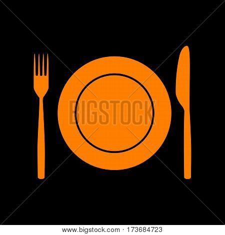 Fork, Knife and Plate sign. Orange icon on black background. Old phosphor monitor. CRT.