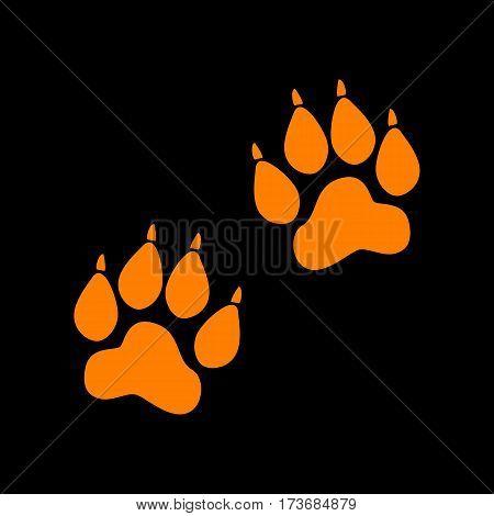 Animal Tracks sign. Orange icon on black background. Old phosphor monitor. CRT.